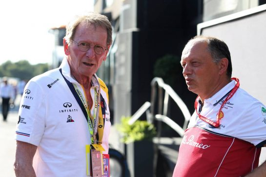 (L to R): Jean-Pierre Jabouille (FRA) with Frederic Vasseur (FRA) Alfa Romeo Racing Team Principal.