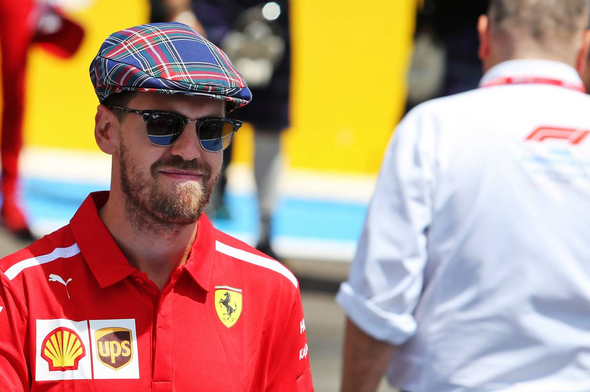 Sebastian Vettel (GER) Ferrari on the drivers parade.