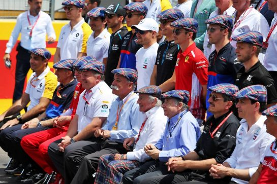 Drivers, team personnel, Chase Carey (USA) Formula One Group Chairman, and Jean Todt (FRA) FIA President, celebrate the 80th birthday of Jackie Stewart (GBR). 23.06.2019. Formula 1 World Championship, Rd 8, French Grand Prix, Paul Ricard, France, Race Day. - www.xpbimages.com, EMail: requests@xpbimages.com - copy of publication required for printed pictures. Every used picture is fee-liable. © Copyright: Moy / XPB Images