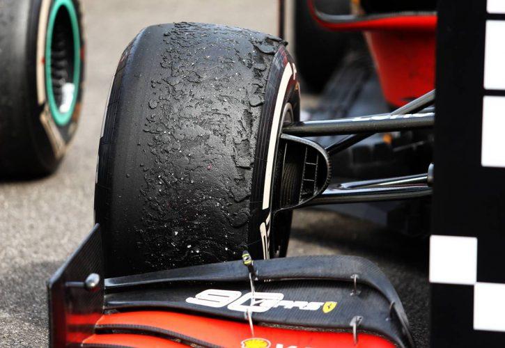 Worn Pirelli tyre on the Ferrari SF90 of Charles Leclerc (MON) Ferrari in parc ferme. 23.06.2019