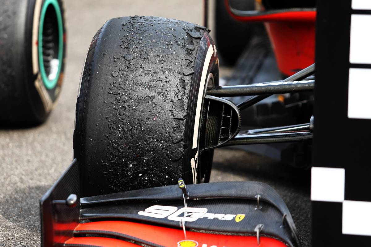 Worn Pirelli tyre on the Ferrari SF90 of Charles Leclerc (MON) Ferrari in parc ferme. 23.06.2019