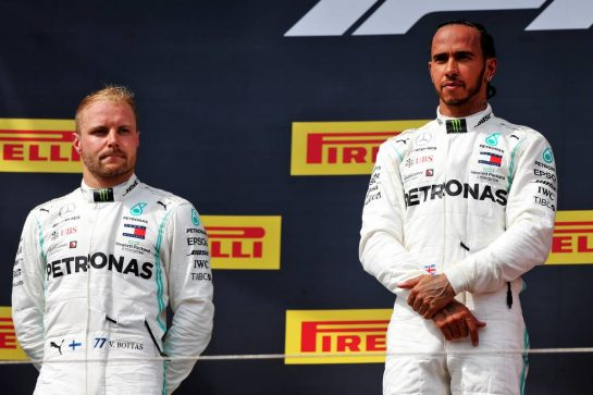 (L to R): second placed Valtteri Bottas (FIN) Mercedes AMG F1 on the podium with race winner Lewis Hamilton (GBR) Mercedes AMG F1. 23.06.2019. Formula 1 World Championship, Rd 8, French Grand Prix, Paul Ricard, France, Race Day. - www.xpbimages.com, EMail: requests@xpbimages.com - copy of publication required for printed pictures. Every used picture is fee-liable. © Copyright: Moy / XPB Images