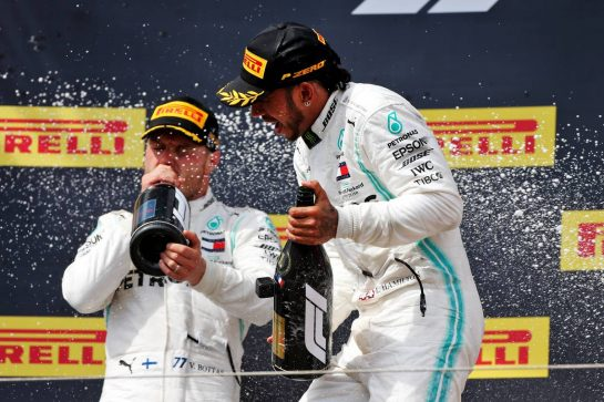 Race winner Lewis Hamilton (GBR) Mercedes AMG F1 celebrates on the podium. 23.06.2019. Formula 1 World Championship, Rd 8, French Grand Prix, Paul Ricard, France, Race Day. - www.xpbimages.com, EMail: requests@xpbimages.com - copy of publication required for printed pictures. Every used picture is fee-liable. © Copyright: Moy / XPB Images