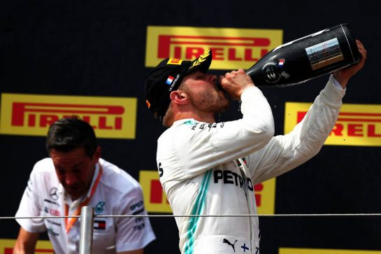 Valtteri Bottas (FIN) Mercedes AMG F1 celebrates his second position on the podium. 23.06.2019. Formula 1 World Championship, Rd 8, French Grand Prix, Paul Ricard, France, Race Day. - www.xpbimages.com, EMail: requests@xpbimages.com - copy of publication required for printed pictures. Every used picture is fee-liable. © Copyright: Moy / XPB Images