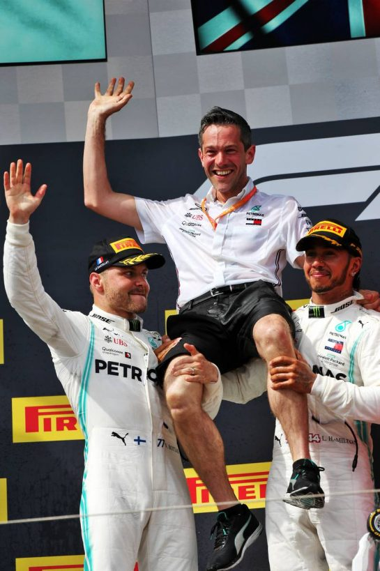 The podium (L to R): second placed Valtteri Bottas (FIN) Mercedes AMG F1 celebrates with Nathan Divey (GBR) Mercedes AMG F1 No1 Mechanic and race winner Lewis Hamilton (GBR) Mercedes AMG F1. 23.06.2019. Formula 1 World Championship, Rd 8, French Grand Prix, Paul Ricard, France, Race Day. - www.xpbimages.com, EMail: requests@xpbimages.com - copy of publication required for printed pictures. Every used picture is fee-liable. © Copyright: Moy / XPB Images