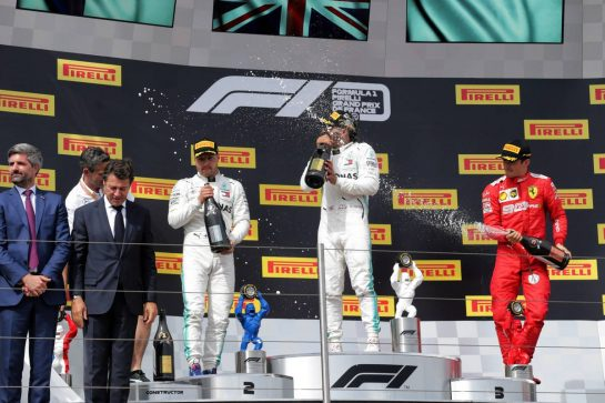 The podium (L to R): Valtteri Bottas (FIN) Mercedes AMG F1, second; Lewis Hamilton (GBR) Mercedes AMG F1, race winner; Charles Leclerc (MON) Ferrari, third. 23.06.2019. Formula 1 World Championship, Rd 8, French Grand Prix, Paul Ricard, France, Race Day.  - www.xpbimages.com, EMail: requests@xpbimages.com - copy of publication required for printed pictures. Every used picture is fee-liable. © Copyright: Bearne / XPB Images