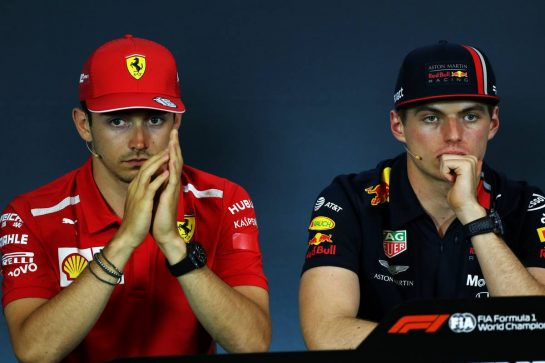 (L to R): Charles Leclerc (MON) Ferrari and Max Verstappen (NLD) Red Bull Racing in the FIA Press Conference. 27.06.2019. Formula 1 World Championship, Rd 9, Austrian Grand Prix, Spielberg, Austria, Preparation Day. - www.xpbimages.com, EMail: requests@xpbimages.com - copy of publication required for printed pictures. Every used picture is fee-liable. © Copyright: Moy / XPB Images