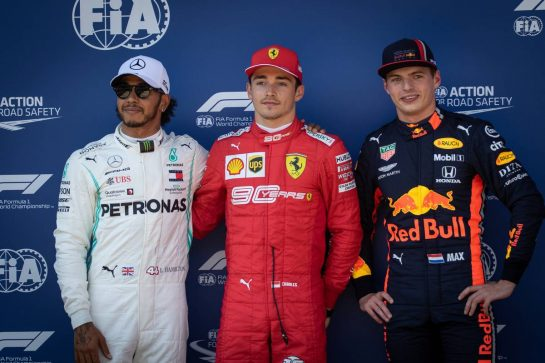 Qualifying top three in parc ferme (L to R): Lewis Hamilton (GBR) Mercedes AMG F1, second; Charles Leclerc (MON) Ferrari, pole position; Max Verstappen (NLD) Red Bull Racing, third.