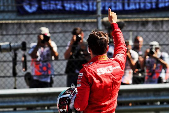 Charles Leclerc (MON) Ferrari celebrates his pole position in qualifying parc ferme.