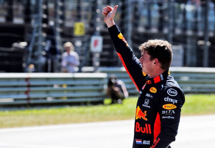 Max Verstappen (NLD) Red Bull Racing celebrates his third position in qualifying parc ferme.