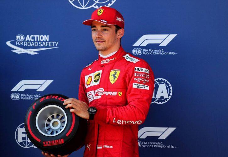 Charles Leclerc (MON) Ferrari receives the Pirelli Pole Position award.