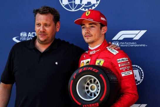 Charles Leclerc (MON) Ferrari receives the Pirelli Pole Position award from Lukas Lauda (AUT).