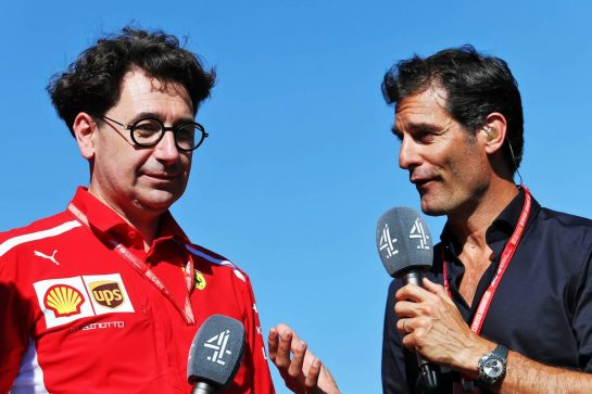 (L to R): Mattia Binotto (ITA) Ferrari Team Principal with Mark Webber (AUS) Channel 4 Presenter.