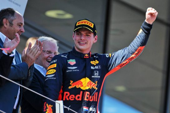 Race winner Max Verstappen (NLD) Red Bull Racing celebrates on the podium. 30.06.2019 Formula 1 World Championship, Rd 9, Austrian Grand Prix, Spielberg, Austria, Race Day. - www.xpbimages.com, EMail: requests@xpbimages.com - copy of publication required for printed pictures. Every used picture is fee-liable. © Copyright: Moy / XPB Images