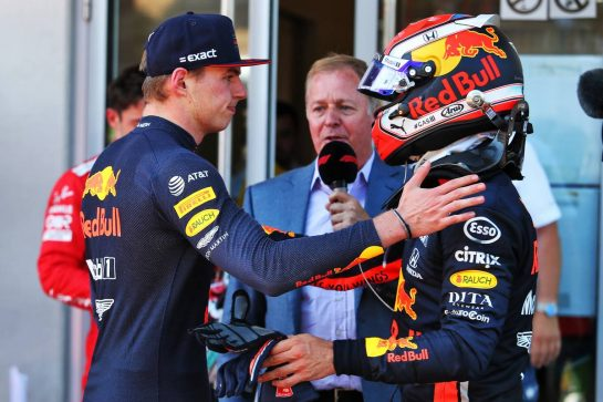 Race winner Max Verstappen (NLD) Red Bull Racing with team mate Pierre Gasly (FRA) Red Bull Racing in parc ferme.