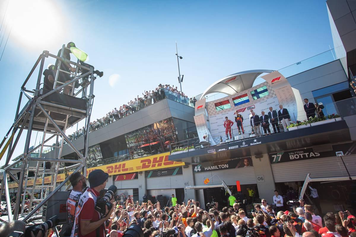 The podium (L to R): Charles Leclerc (MON) Ferrari, second; Max Verstappen (NLD) Red Bull Racing, race winner; Valtteri Bottas (FIN) Mercedes AMG F1, third.