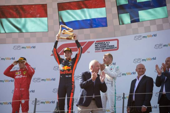 The podium (L to R): Charles Leclerc (MON) Ferrari, second; Max Verstappen (NLD) Red Bull Racing, race winner; Valtteri Bottas (FIN) Mercedes AMG F1, third.