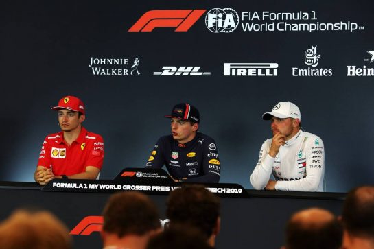 The post race FIA Press Conference (L to R): Charles Leclerc (MON) Ferrari, second; Max Verstappen (NLD) Red Bull Racing, race winner; Valtteri Bottas (FIN) Mercedes AMG F1, third.