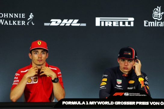 (L to R): Charles Leclerc (MON) Ferrari and Max Verstappen (NLD) Red Bull Racing in the post race FIA Press Conference.