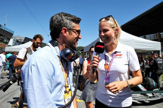 (L to R): Patrick Dempsey (USA) Actor with Rosanna Tennant (GBR) F1 Presenter on the grid. 30.06.2019 Formula 1 World Championship, Rd 9, Austrian Grand Prix, Spielberg, Austria, Race Day. - www.xpbimages.com, EMail: requests@xpbimages.com - copy of publication required for printed pictures. Every used picture is fee-liable. © Copyright: Moy / XPB Images