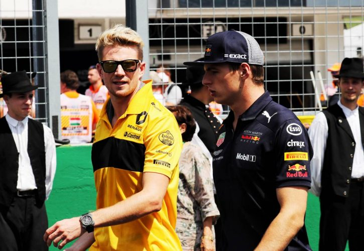 Nico Hulkenberg (GER) Renault Sport F1 Team and Max Verstappen (NLD) Red Bull Racing on the drivers parade.
