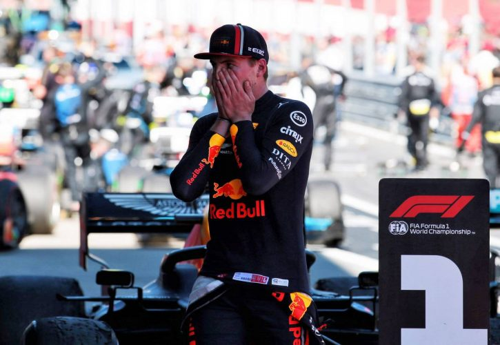 Race winner Max Verstappen (NLD) Red Bull Racing celebrates in parc ferme.
