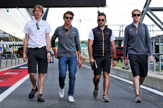 Lando Norris (GBR) McLaren walks the circuit with the team. 11.07.2019. Formula 1 World Championship, Rd 10, British Grand Prix, Silverstone, England, Preparation Day. - www.xpbimages.com, EMail: requests@xpbimages.com - copy of publication required for printed pictures. Every used picture is fee-liable. © Copyright: Batchelor / XPB Images