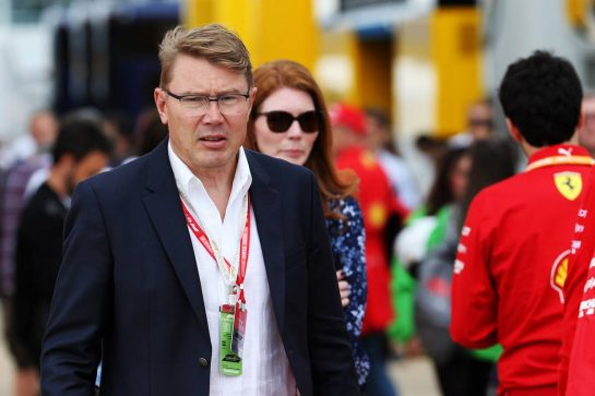 Mika Hakkinen (FIN). 11.07.2019. Formula 1 World Championship, Rd 10, British Grand Prix, Silverstone, England, Preparation Day. - www.xpbimages.com, EMail: requests@xpbimages.com - copy of publication required for printed pictures. Every used picture is fee-liable. © Copyright: Batchelor / XPB Images