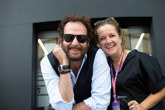 (L to R): Matteo Bonciani (ITA) former FIA Media Delegate with Kate Walker (GBR) Journalist. 11.07.2019. Formula 1 World Championship, Rd 10, British Grand Prix, Silverstone, England, Preparation Day.  - www.xpbimages.com, EMail: requests@xpbimages.com - copy of publication required for printed pictures. Every used picture is fee-liable. © Copyright: Bearne / XPB Images