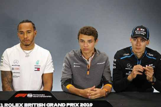 Lewis Hamilton (GBR), Mercedes AMG F1 , Lando Norris (GBR), McLaren F1 Team and George Russell (GBR), Williams F1 Team 11.07.2019. Formula 1 World Championship, Rd 10, British Grand Prix, Silverstone, England, Preparation Day.- www.xpbimages.com, EMail: requests@xpbimages.com - copy of publication required for printed pictures. Every used picture is fee-liable. © Copyright: Charniaux / XPB Images
