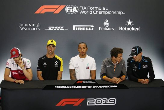 Antonio Giovinazzi (ITA), Alfa Romeo Racing, Daniel Ricciardo (AUS), Renault F1 Team, Lewis Hamilton (GBR), Mercedes AMG F1, Lando Norris (GBR), McLaren F1 Team and George Russell (GBR), Williams F1 Team 11.07.2019. Formula 1 World Championship, Rd 10, British Grand Prix, Silverstone, England, Preparation Day.- www.xpbimages.com, EMail: requests@xpbimages.com - copy of publication required for printed pictures. Every used picture is fee-liable. © Copyright: Charniaux / XPB Images