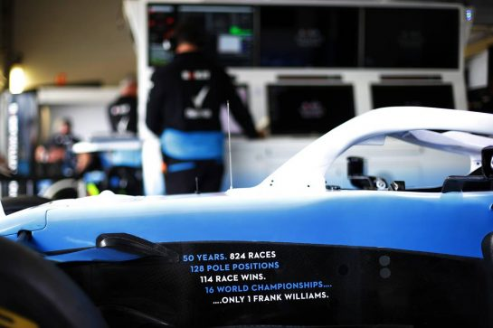 Williams Racing FW42 celebrates 50 years in F1 for Frank Williams (GBR) Williams Team Owner. 11.07.2019. Formula 1 World Championship, Rd 10, British Grand Prix, Silverstone, England, Preparation Day.  - www.xpbimages.com, EMail: requests@xpbimages.com - copy of publication required for printed pictures. Every used picture is fee-liable. © Copyright: Bearne / XPB Images