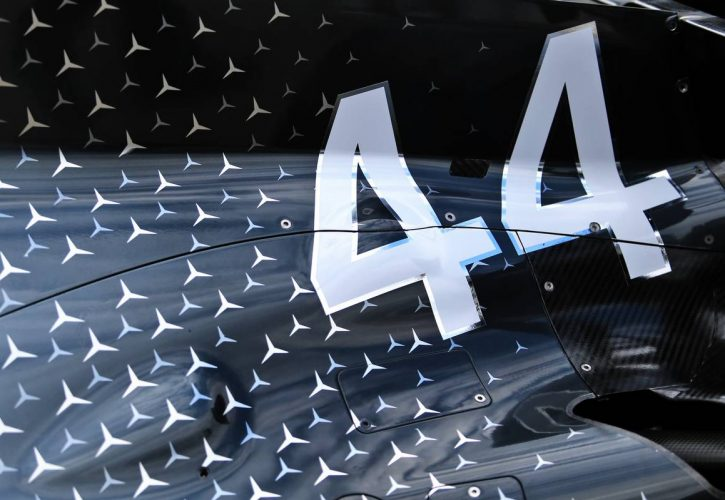 Mercedes AMG F1 W10 engine cover of Lewis Hamilton (GBR).