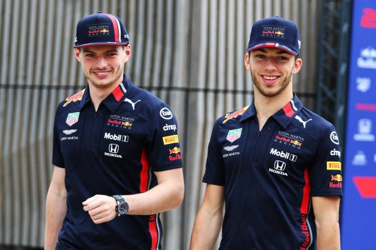 (L to R): Max Verstappen (NLD) Red Bull Racing and team mate Pierre Gasly (FRA) Red Bull Racing. 11.07.2019. Formula 1 World Championship, Rd 10, British Grand Prix, Silverstone, England, Preparation Day. - www.xpbimages.com, EMail: requests@xpbimages.com - copy of publication required for printed pictures. Every used picture is fee-liable. © Copyright: Moy / XPB Images