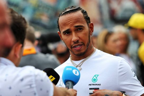 Lewis Hamilton (GBR) Mercedes AMG F1 with the media. 11.07.2019. Formula 1 World Championship, Rd 10, British Grand Prix, Silverstone, England, Preparation Day. - www.xpbimages.com, EMail: requests@xpbimages.com - copy of publication required for printed pictures. Every used picture is fee-liable. © Copyright: Moy / XPB Images