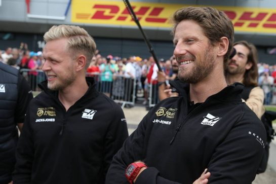 Kevin Magnussen (DEN) Haas VF-19 and Romain Grosjean (FRA) Haas F1 Team VF-19.11.07.2019. Formula 1 World Championship, Rd 10, British Grand Prix, Silverstone, England, Preparation Day.- www.xpbimages.com, EMail: requests@xpbimages.com - copy of publication required for printed pictures. Every used picture is fee-liable. © Copyright: Batchelor / XPB Images