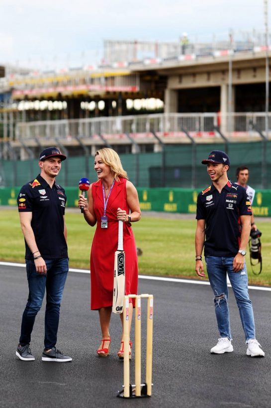 (L to R): Max Verstappen (NLD) Red Bull Racing with Rachel Brookes (GBR) Sky Sports F1 Reporter and Pierre Gasly (FRA) Red Bull Racing. 11.07.2019. Formula 1 World Championship, Rd 10, British Grand Prix, Silverstone, England, Preparation Day. - www.xpbimages.com, EMail: requests@xpbimages.com - copy of publication required for printed pictures. Every used picture is fee-liable. © Copyright: Moy / XPB Images