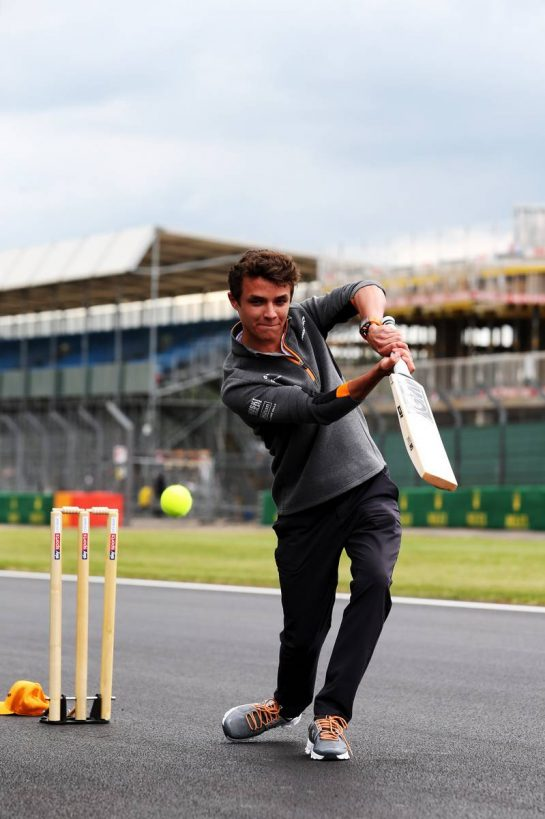 Lando Norris (GBR) McLaren plays cricket. 11.07.2019. Formula 1 World Championship, Rd 10, British Grand Prix, Silverstone, England, Preparation Day. - www.xpbimages.com, EMail: requests@xpbimages.com - copy of publication required for printed pictures. Every used picture is fee-liable. © Copyright: Moy / XPB Images
