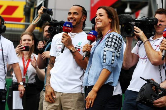Lewis Hamilton (GBR) Mercedes AMG F1 with Natalie Pinkham (GBR) Sky Sports Presenter. 11.07.2019. Formula 1 World Championship, Rd 10, British Grand Prix, Silverstone, England, Preparation Day. - www.xpbimages.com, EMail: requests@xpbimages.com - copy of publication required for printed pictures. Every used picture is fee-liable. © Copyright: Moy / XPB Images