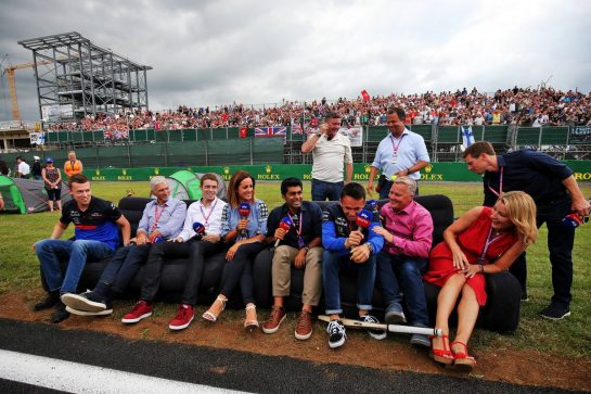 (L to R): Daniil Kvyat (RUS) Scuderia Toro Rosso; Damon Hill (GBR) Sky Sports Presenter; Paul di Resta (GBR) Sky Sports F1 Presenter; Natalie Pinkham (GBR) Sky Sports Presenter; Karun Chandhok (IND) Sky Sports F1 Pitlane Reporter; alp; Johnny Herbert (GBR) Sky Sports F1 Presenter; Rachel Brookes (GBR) Sky Sports F1 Reporter; and Anthony Davidson (GBR) Sky Sports F1 Presenter. 11.07.2019. Formula 1 World Championship, Rd 10, British Grand Prix, Silverstone, England, Preparation Day. - www.xpbimages.com, EMail: requests@xpbimages.com - copy of publication required for printed pictures. Every used picture is fee-liable. © Copyright: Moy / XPB Images