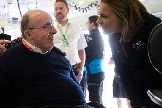 (L to R): Frank Williams (GBR) Williams Team Owner with Claire Williams (GBR) Williams Racing Deputy Team Principal.