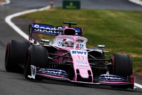 Sergio Perez (MEX) Racing Point F1 Team RP19. 13.07.2019. Formula 1 World Championship, Rd 10, British Grand Prix, Silverstone, England, Qualifying Day. - www.xpbimages.com, EMail: requests@xpbimages.com - copy of publication required for printed pictures. Every used picture is fee-liable. © Copyright: Moy / XPB Images