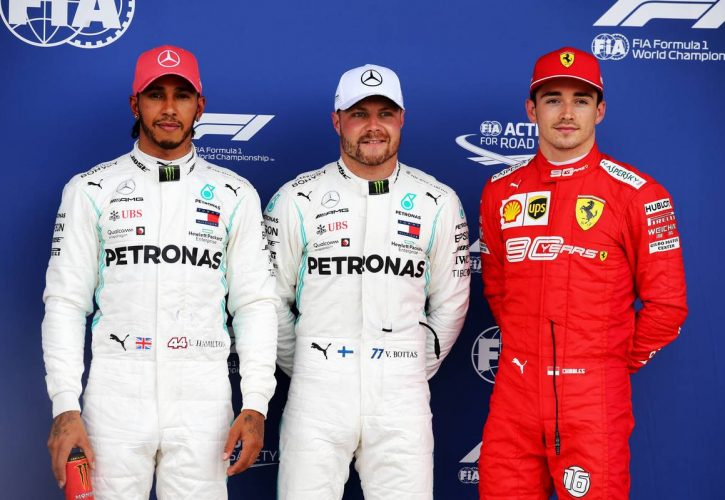 Qualifying top three in parc ferme (L to R): Lewis Hamilton (GBR) Mercedes AMG F1, second; Valtteri Bottas (FIN) Mercedes AMG F1, pole position; Charles Leclerc (MON) Ferrari, third.