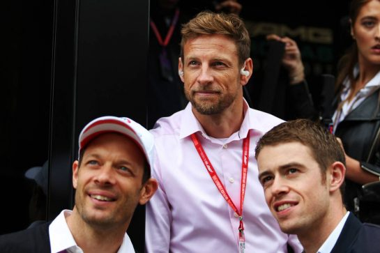 Jenson Button (GBR) Sky Sports F1 Presenter with Alex Wurz (AUT) and Paul di Resta (GBR) Sky Sports F1 Presenter.