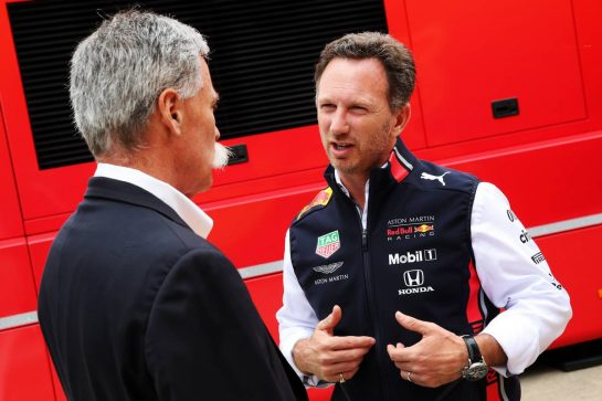 (L to R): Chase Carey (USA) Formula One Group Chairman with Christian Horner (GBR) Red Bull Racing Team Principal.