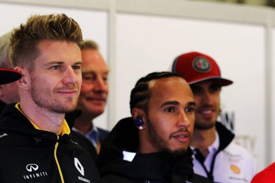 Nico Hulkenberg (GER) Renault F1 Team on the drivers parade.