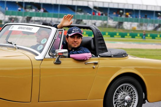 Sergio Perez (MEX) Racing Point F1 Team on the drivers parade.