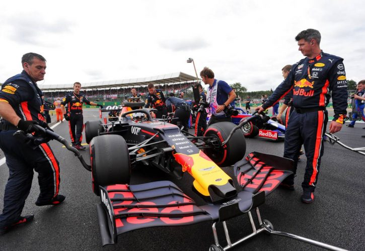 Max Verstappen (NLD) Red Bull Racing RB15 on the grid.