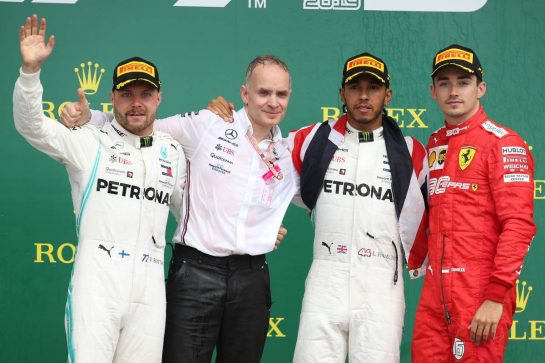 1st place Lewis Hamilton (GBR) Mercedes AMG F1 W10, 2nd place Valtteri Bottas (FIN) Mercedes AMG F1 W10 and 3rd place Charles Leclerc (MON) Ferrari SF90. 14.07.2019. Formula 1 World Championship, Rd 10, British Grand Prix, Silverstone, England, Race Day. - www.xpbimages.com, EMail: requests@xpbimages.com - copy of publication required for printed pictures. Every used picture is fee-liable. © Copyright: Batchelor / XPB Images