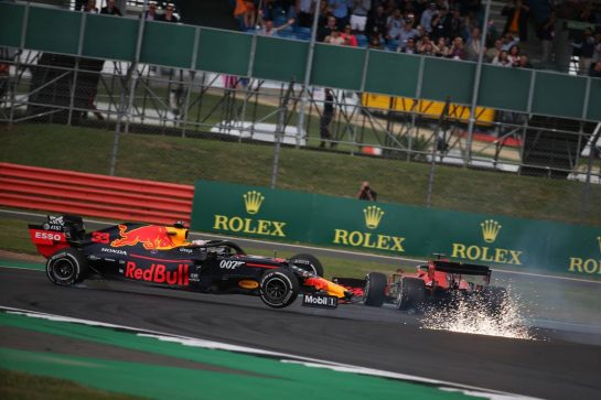Sebastian Vettel (GER) Ferrari SF90 crashes into the back of Max Verstappen (NLD) Red Bull Racing RB15.